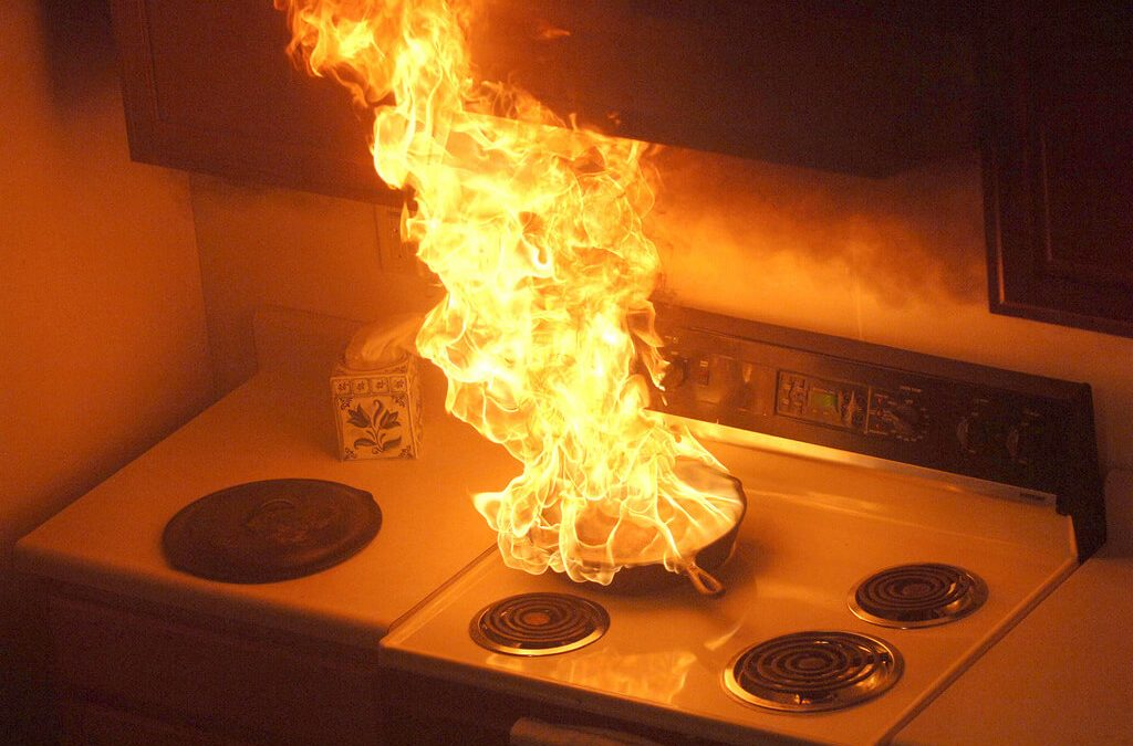 fire safety in the home means never leaving cooking unattended